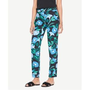 Ann Taylor Dark Floral Morning Glory Easy Pants 8